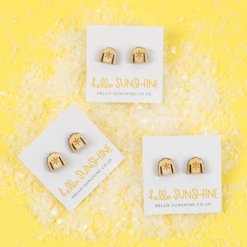 Christmas Jumper Stud Earrings by Hello Sunshine