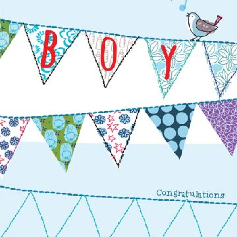 Baby Boy Bunting card by Lou Mills (TOPE4)