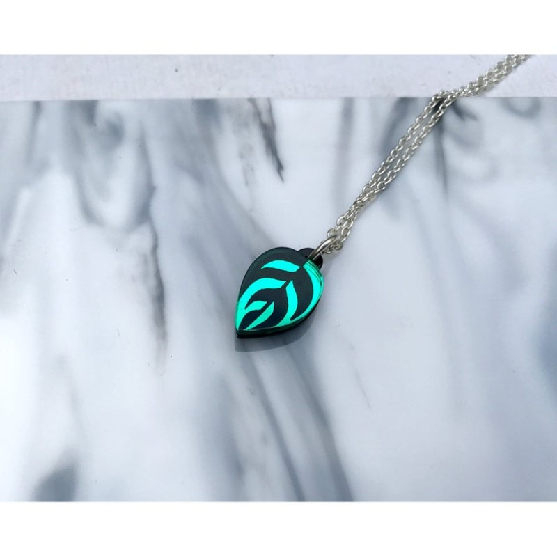 Calathea Leaf Etched Mini Pendant Necklace (Green) by Rosa Pietsch