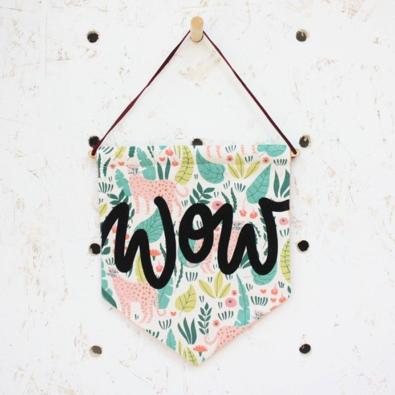 'Wow' fabric pennant flag (animals/black) by Daphne Rosa