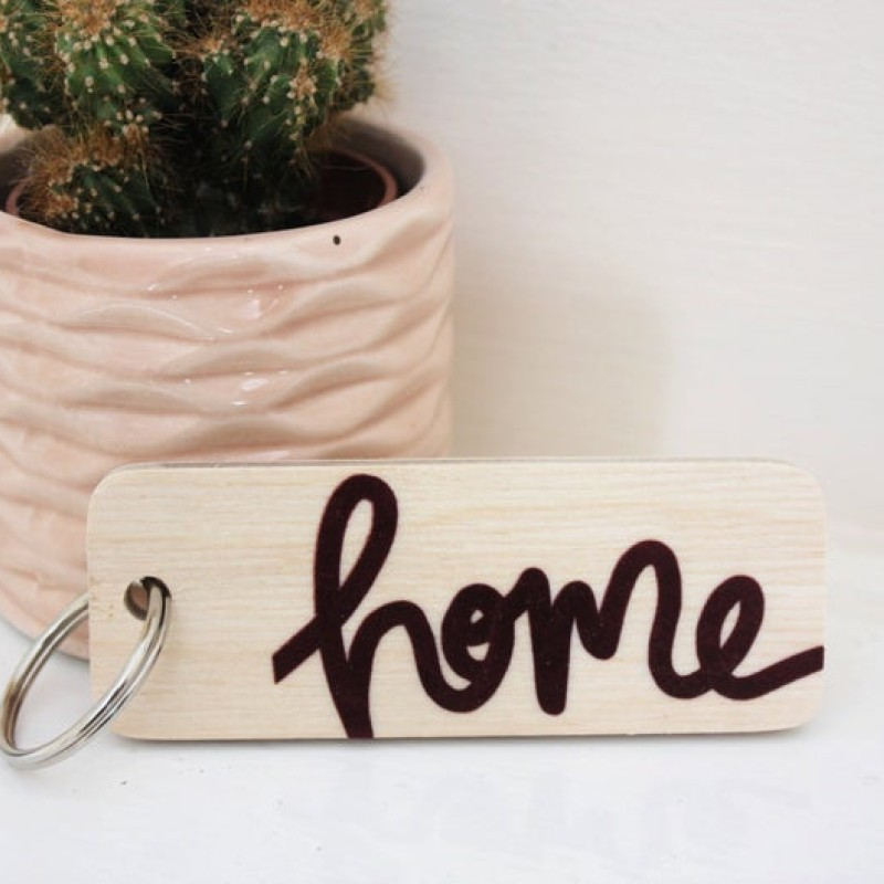 Home wooden keyring by Daphne Rosa