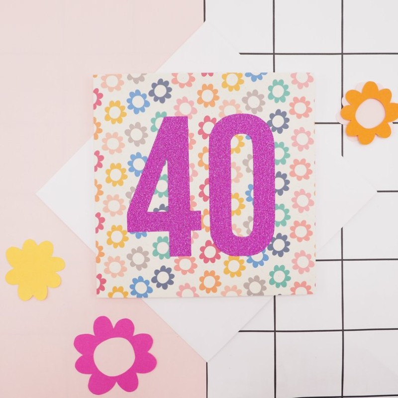 Floral & Pink Glitter Age Birthday Card by Harriet Emily