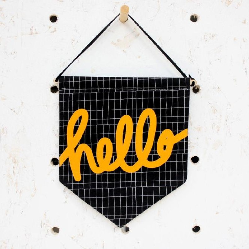 'Hello' fabric pennant flag (black/yellow) by Daphne Rosa