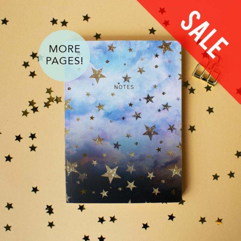 SALE Cloudy stars A5 notebook by Nikki Strange