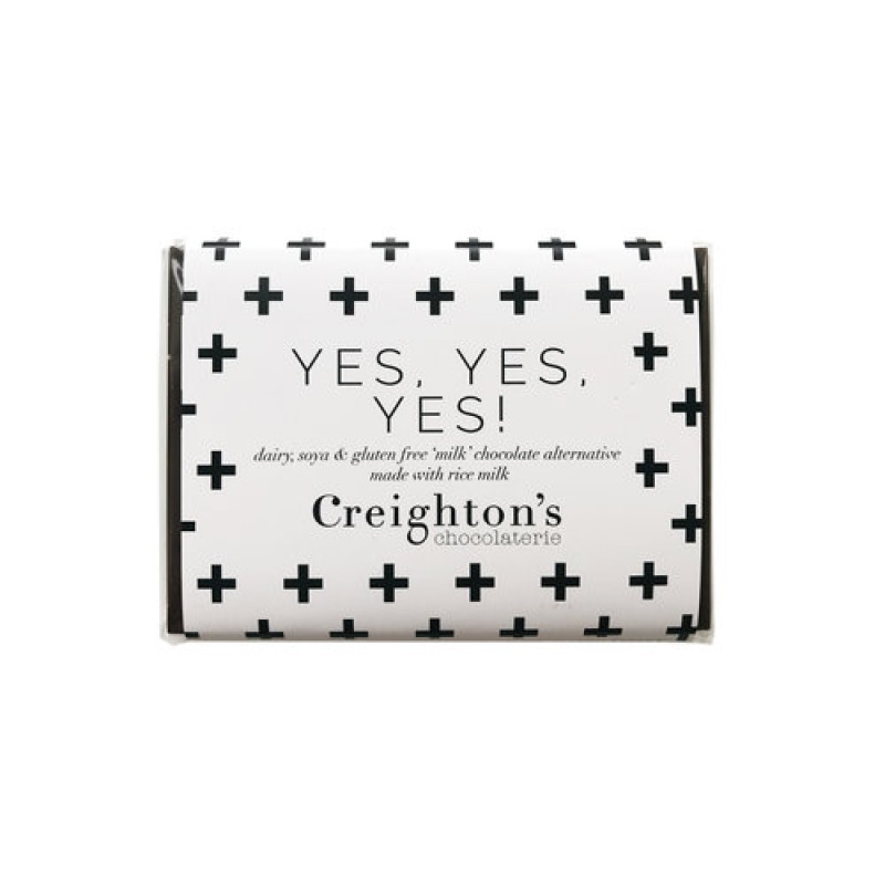 Yes, Yes, Yes! 'Milk' Chocolate Alternative small Chocolate Bar by Creighton's Chocolaterie