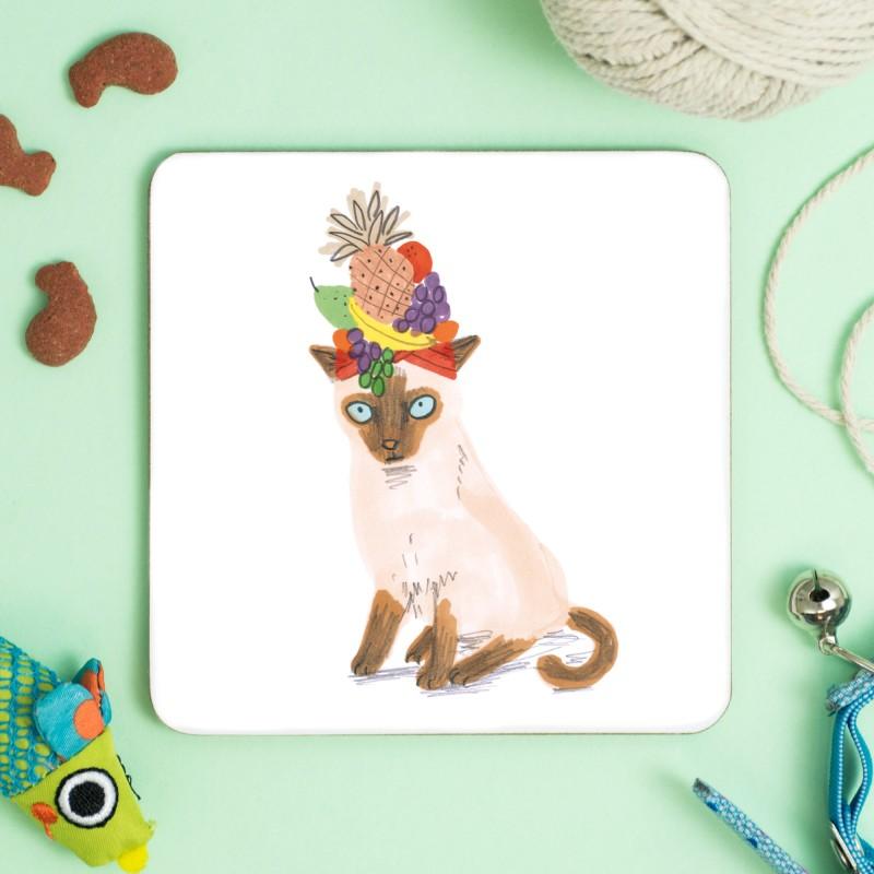 Cat In Fruity Hat Coaster by Jo Clark