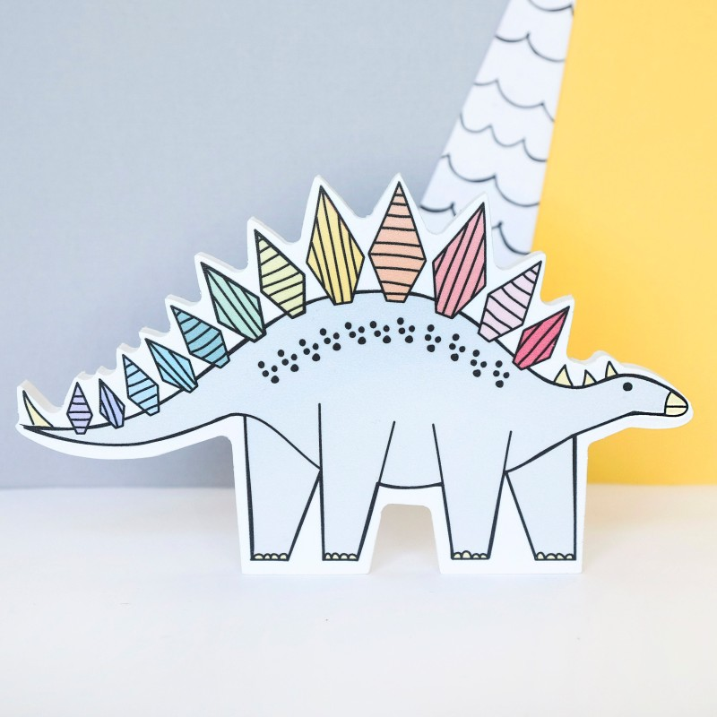 Rainbow Stegosarus Dinosaur Decoration by Bowler Bear Designs