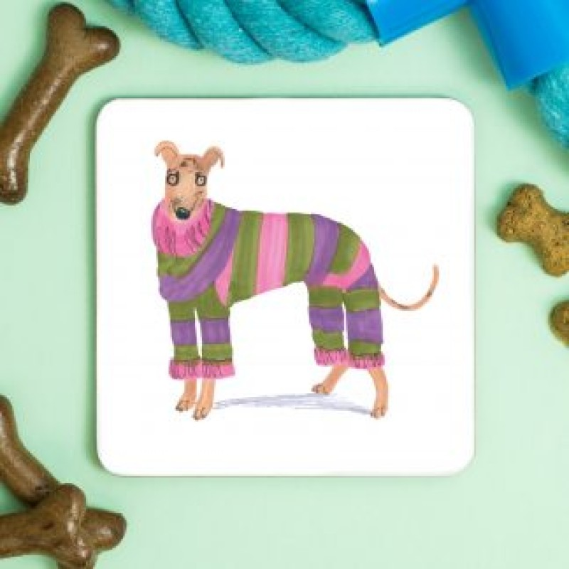 Greyhound Fashionista Coaster by Jo Clark