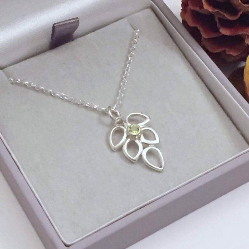Peridot Silver Necklace (August birthstone) by Gina Kim Jewellery