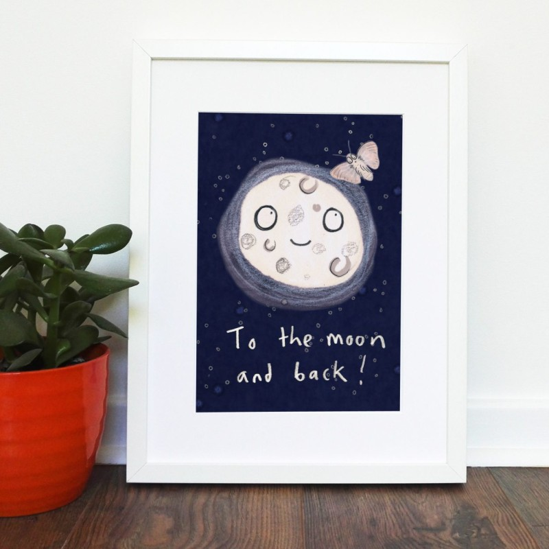 To The Moon & Back A4 unframed print by Jo Clark