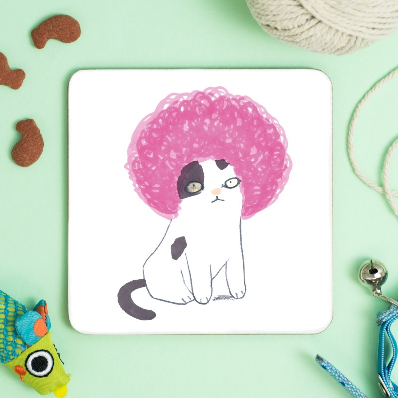 Cat In Pink Afro Wig Coaster by Jo Clark