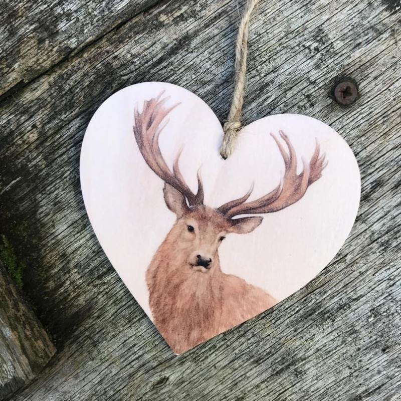 Stag Wooden Hanging decoration By Miss Meaney's