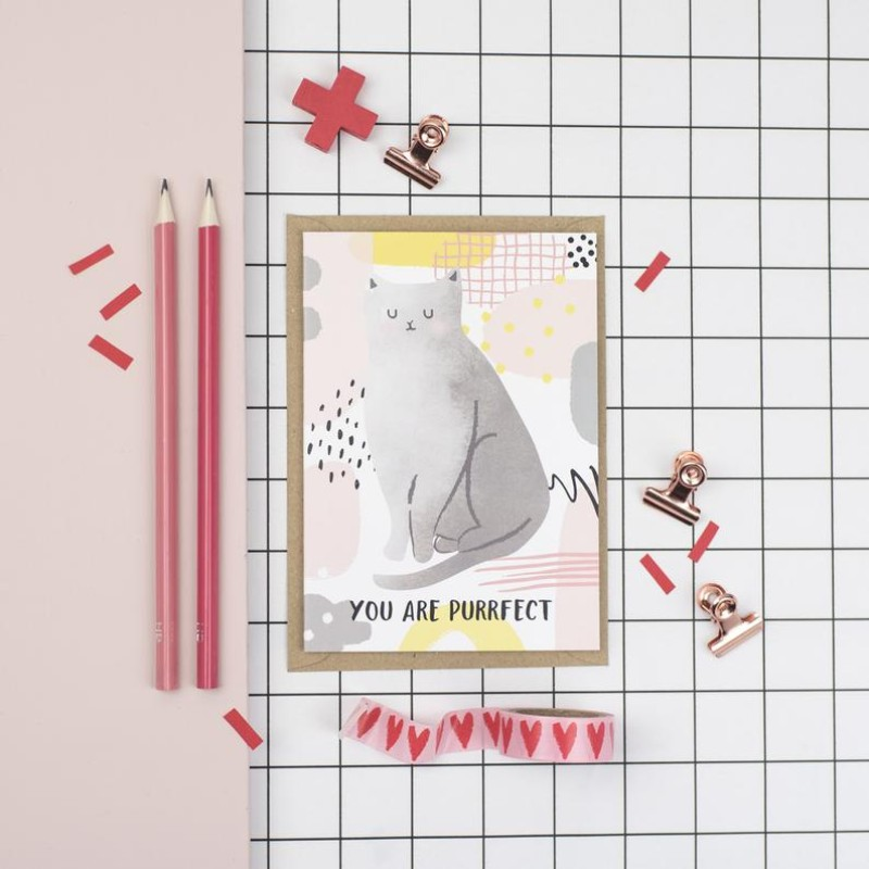 You are purrfect A6 card by Dainty Forest