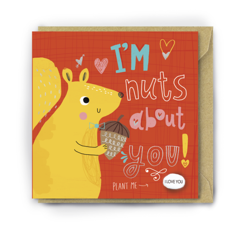 NUTS ABOUT YOU Card by Lucy and Lolly
