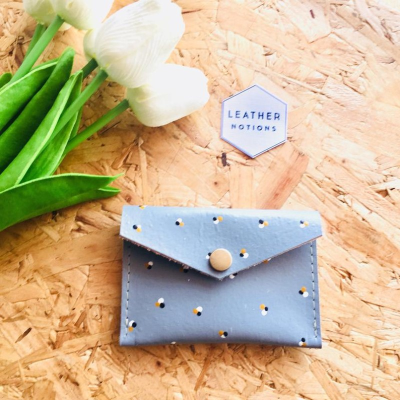 Small Leather Coin Purse (Grey/Polka Dot) by Leather Notions