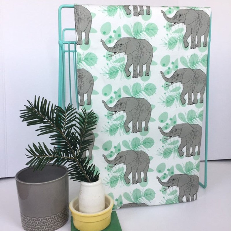 African Elephant Tea Towel (White) by OhHelloShan