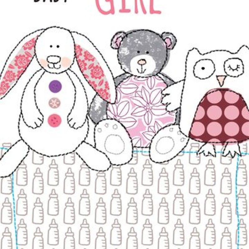 Baby Girl Teddies card by Lou Mills (TOPE7)