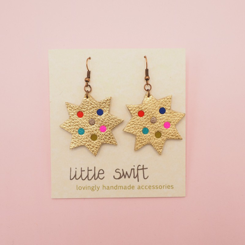 Gold Star, Recycled Leather Earrings by Little Swift (099)