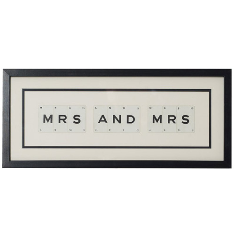 'Mrs and Mrs' Frame by Vintage Playing Cards