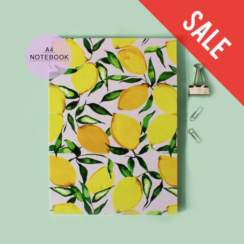 SALE Yellow Citrus Lemons A4 Notebook with lined pages by Nikki Strange