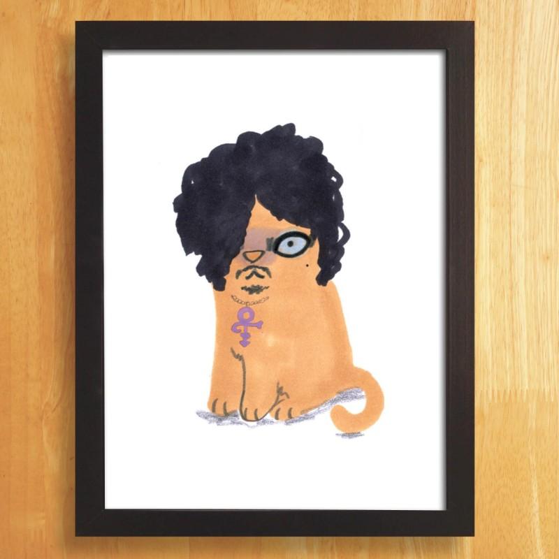 Cat In Prince Wig A4 unframed print by Jo Clark