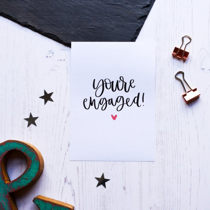 You're Engaged card by AV Typography