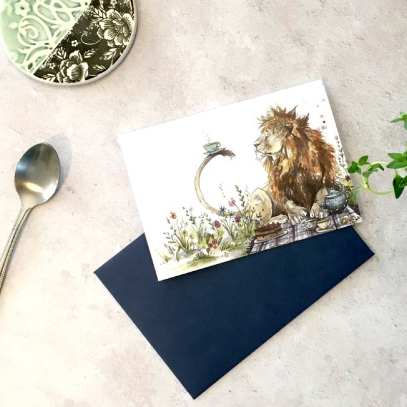 Lion Time for Tea Card by Snowtap