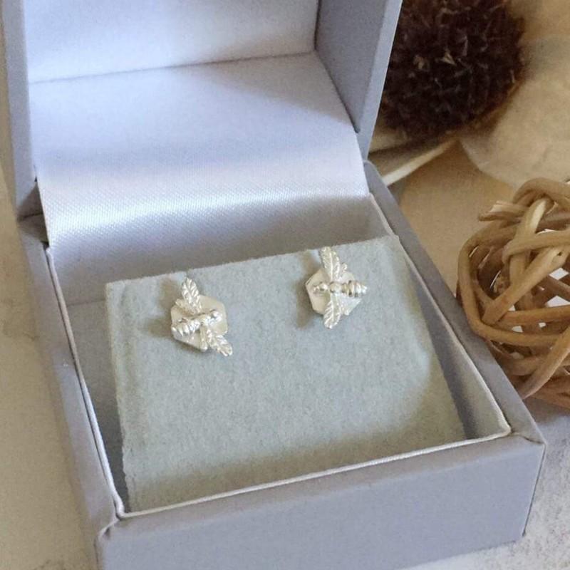 Hexagon Bee Silver Earrings by Gina Kim Jewellery