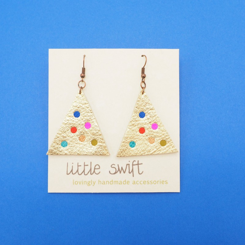 Gold Triangle Recycled Leather Earrings by Little Swift (116)