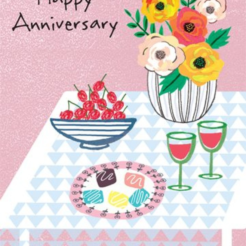 Happy Anniversary Card by Lou Mills (POP10A)