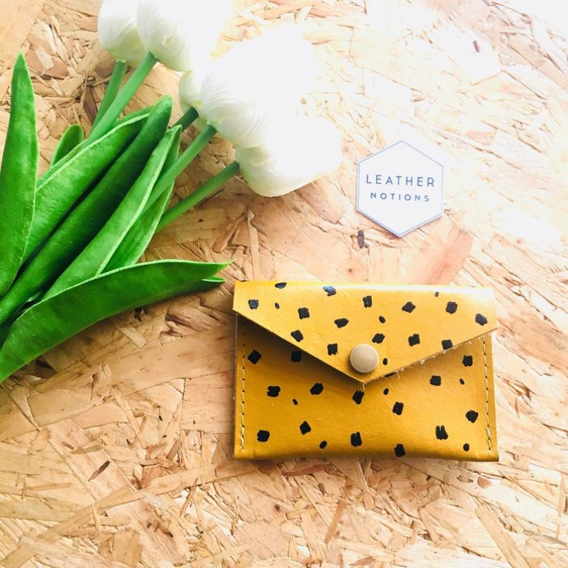 Small Leather Coin Purse (Mustard Cheetah) by Leather Notions