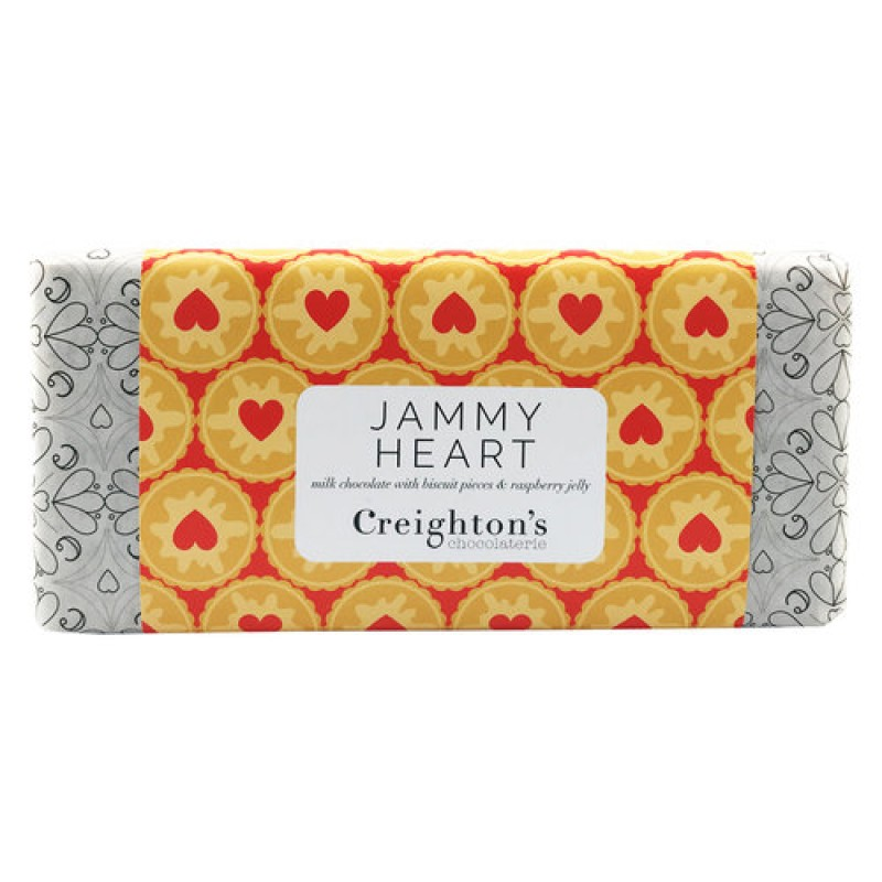 Jammy Heart Chocolate Bar by Creighton's Chocolaterie
