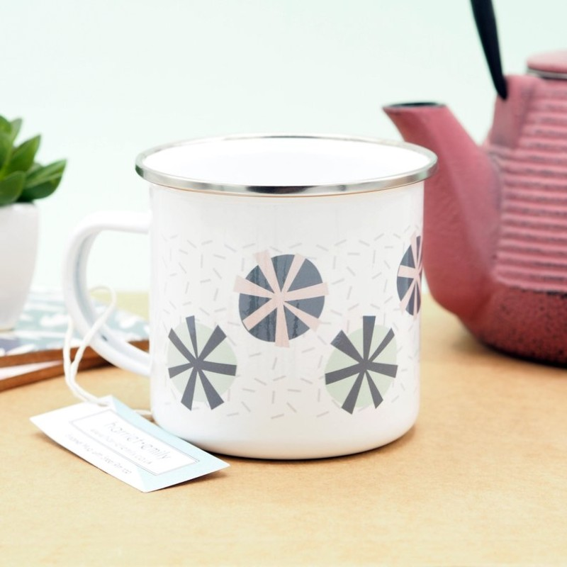 Abstract Floral Pattern Enamel Mug by Harriet Emily