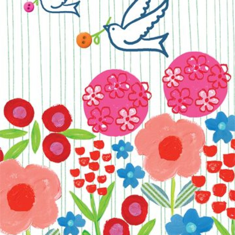 Birds and flowers Blank Card by Lou Mills (EB5)