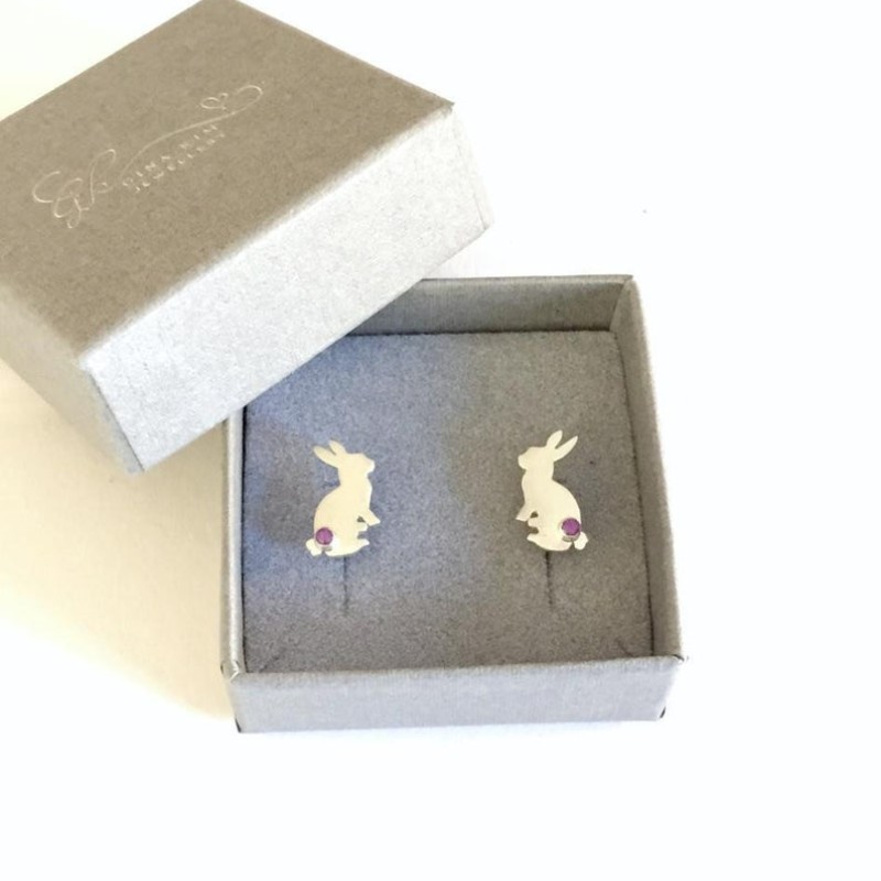 Rabbit Stud 925 Sterling Silver Earrings with Amethyst by Gina Kim Jewellery