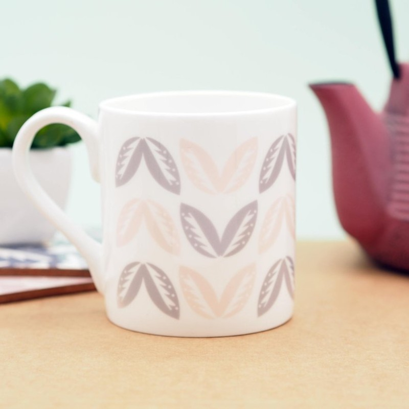 Leaf Pattern Bone China Mug by Harriet Emily