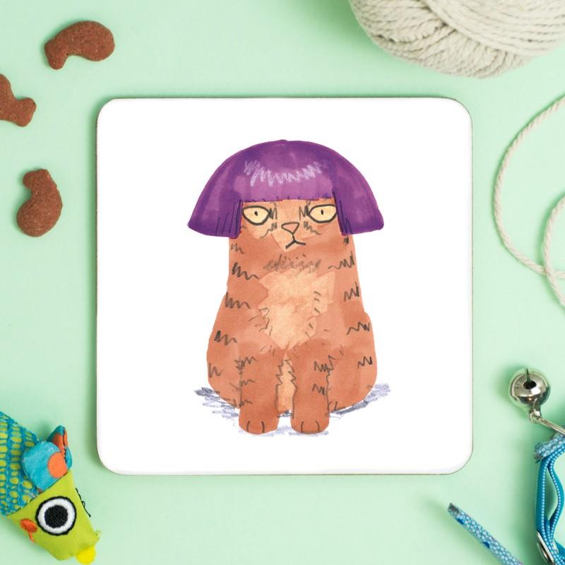Cat in Purple Wig Coaster by Jo Clark
