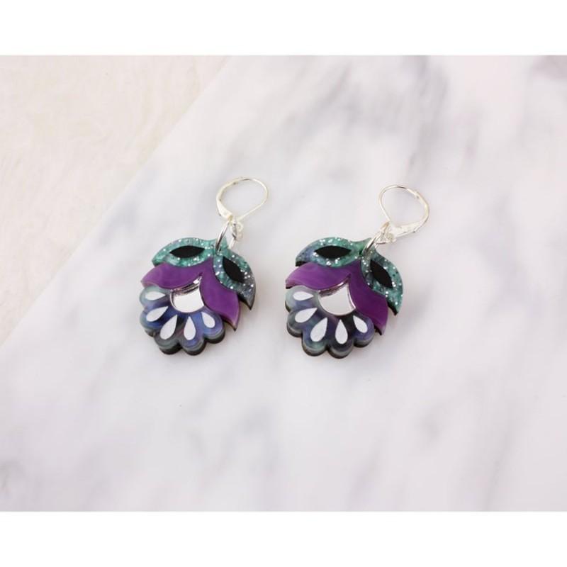 Flora Drop Earrings (Purple) by Rosa Pietsch