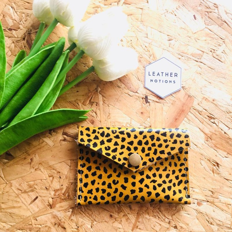 Small Leather Coin Purse (Mustard Leopard) by Leather Notions