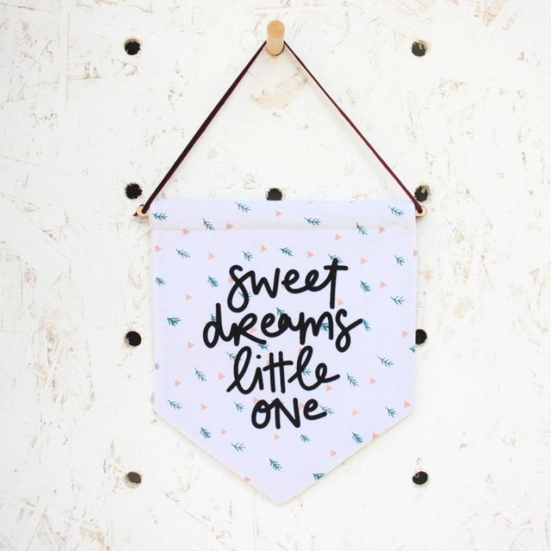 Sweet dreams little one fabric pennant flag by Daphne Rosa
