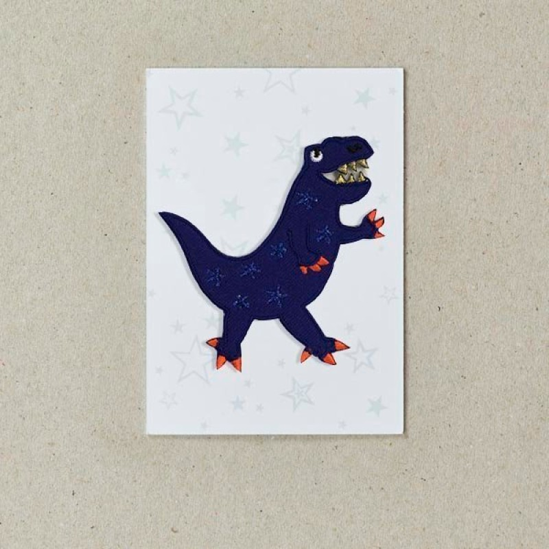 Blue Dinosaur Iron on Patch By Petra Boase