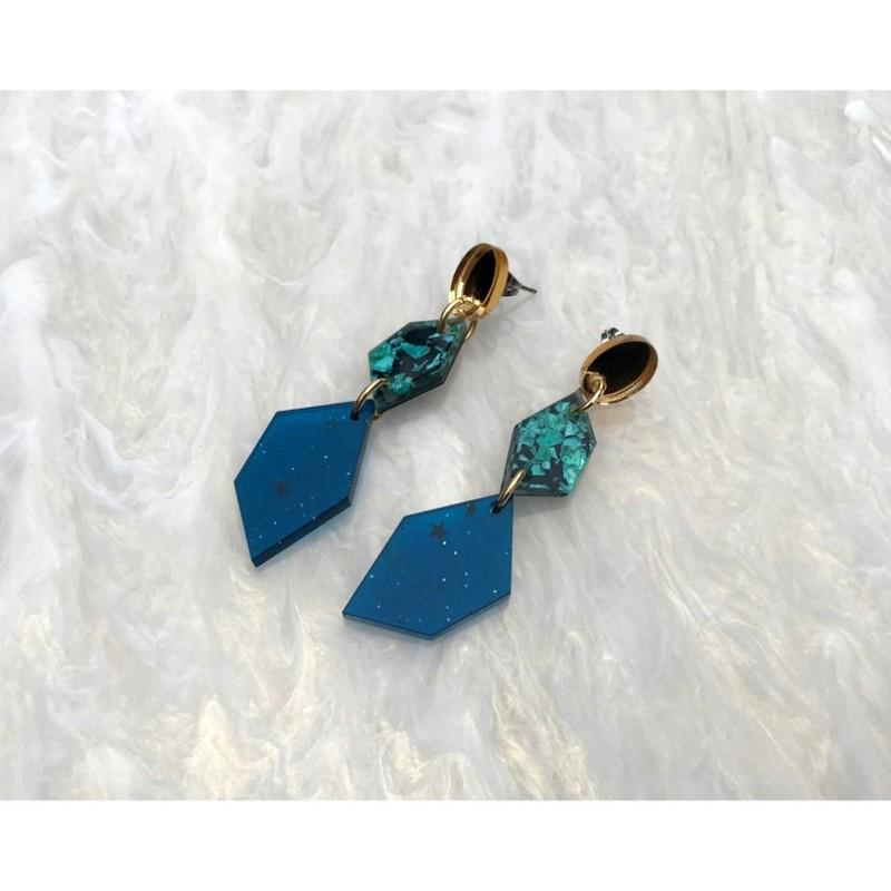 Geometric Drop Earrings (Teal Gillter Blue) by Rosa Pietsch