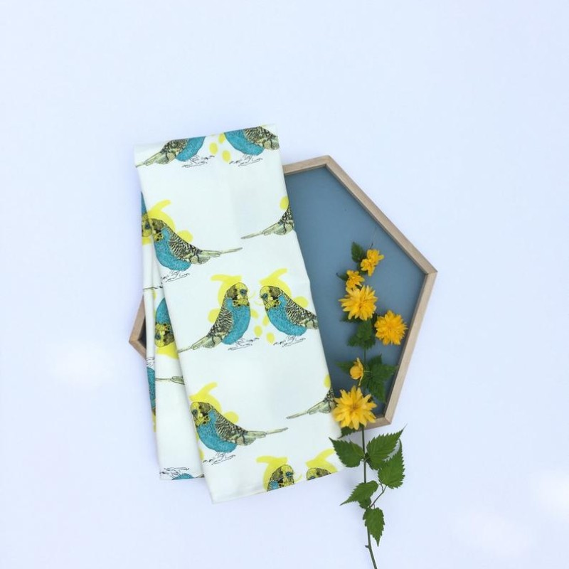 Budgie Tea Towel by OhHelloShan