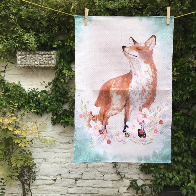 Fox Cotton Tea Towel By Miss Meaney's