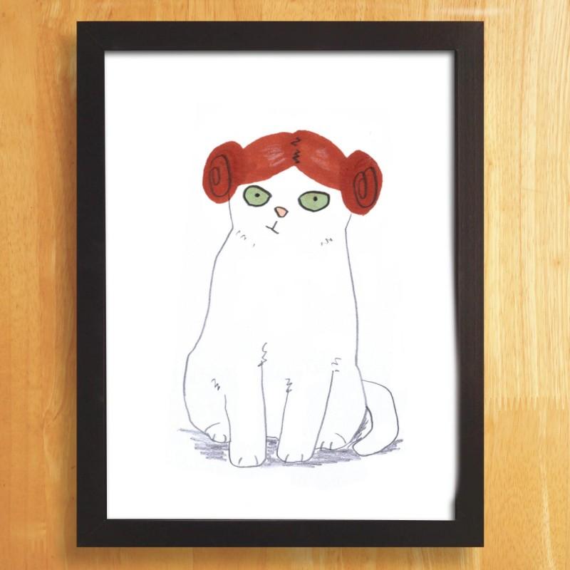 Cat In Princess Leia Wig A4 unframed print by Jo Clark