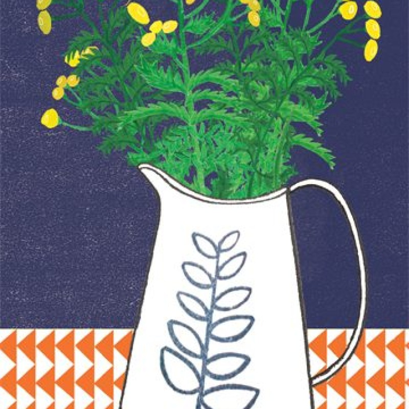 Jug and Yellow Flowers blank card by Lou Mills (POP6)