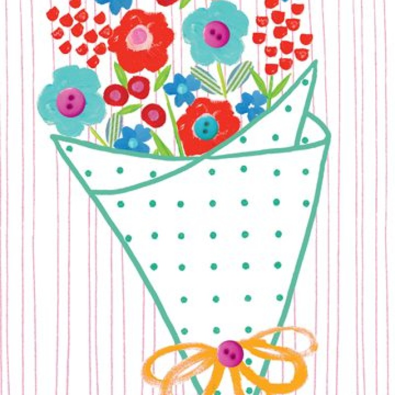 Bouquet Blank Card by Lou Mills (EB2)