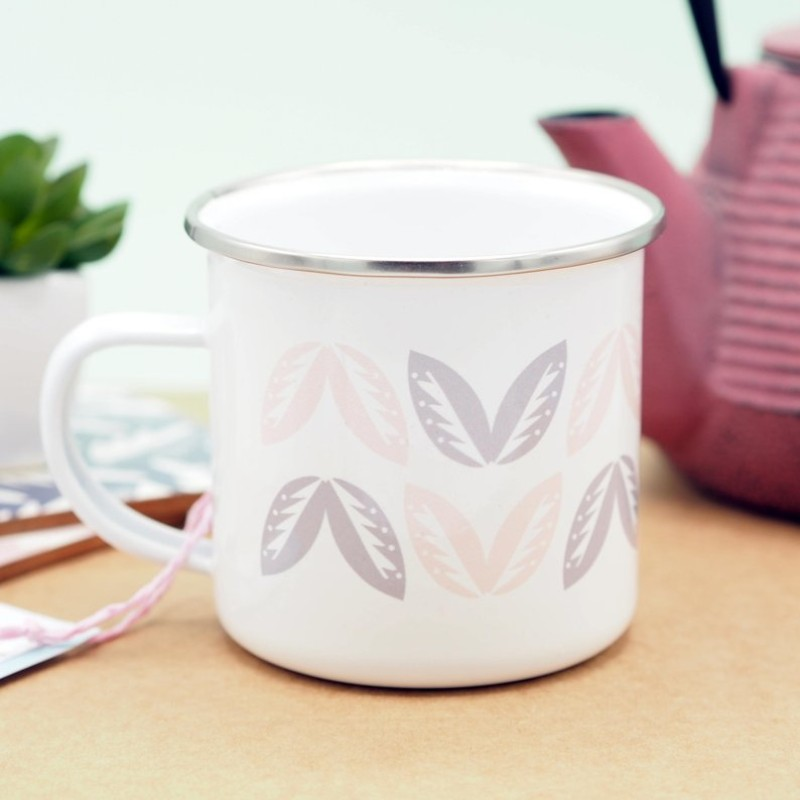 Leaf Pattern Patterned Enamel Mug by Harriet Emily
