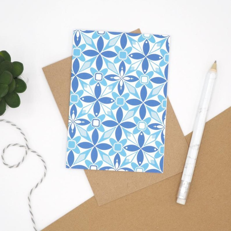 Blue Geometric Notecard by Harriet Emily