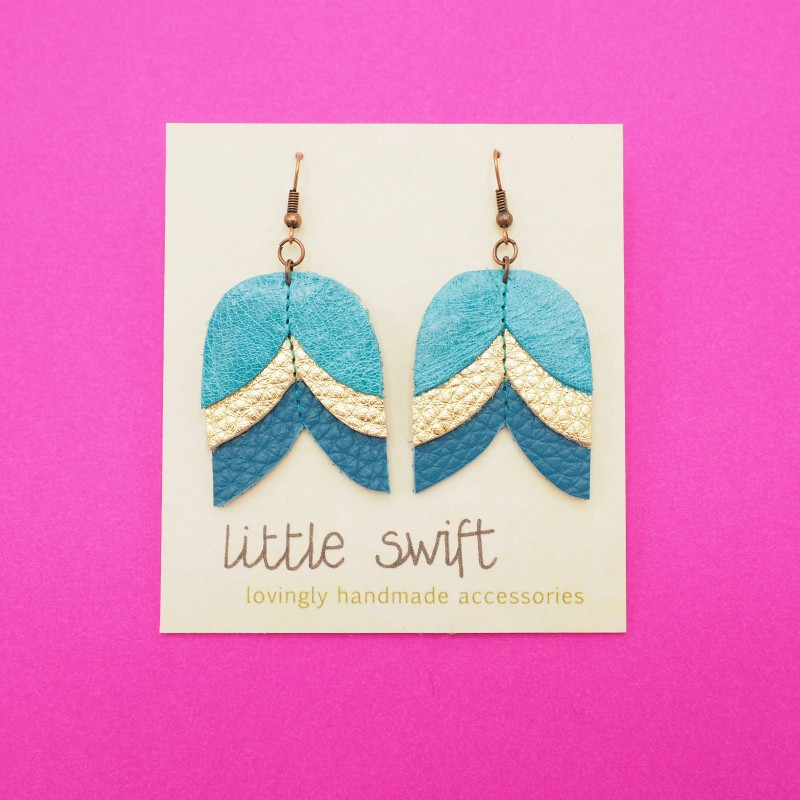 Jade/Gold Tulip, Recycled Leather Earrings by Little Swift (057)